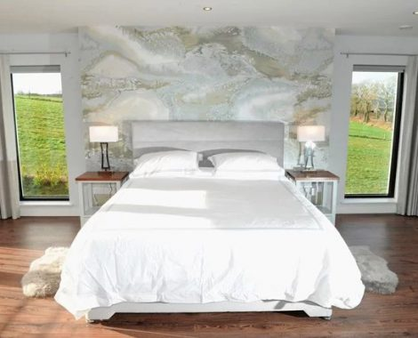 Bedroom design using wall mural, casamance fabrics, bespoke lockers