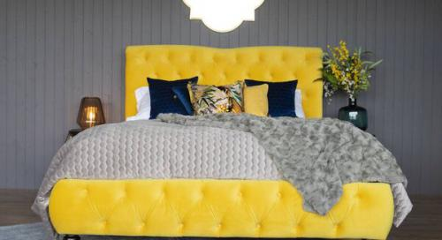 yellow fabric on EZ Living's Truffle bed